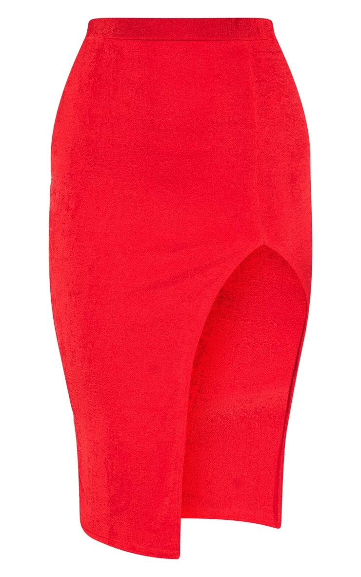 Jupe rouge mi-longue fendue 3