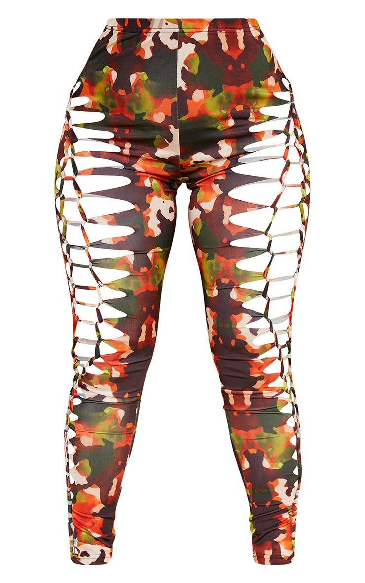 Shape Orange Camo Print Laser Cut Detail Leggings 5