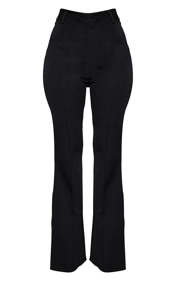 Black Woven V Front Pintuck Wide Leg Pants 5