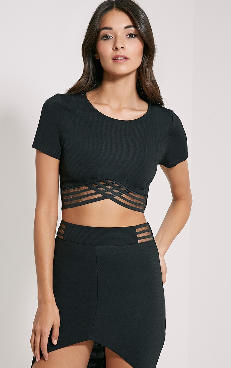 Yeni Black Wrap Hem Crop Top 1