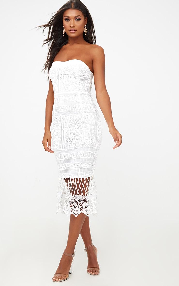 White Lace Bandeau Longline Midi Dress 1