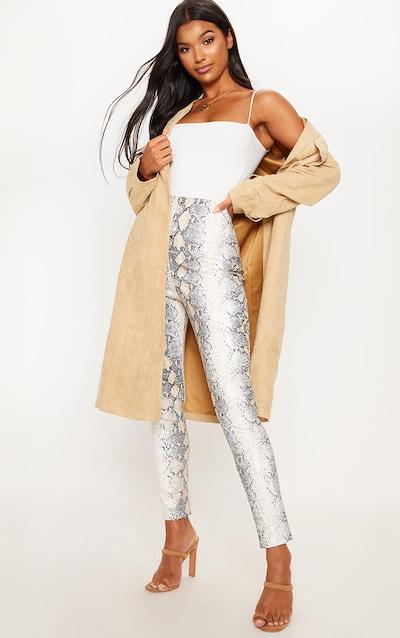 White Snakeskin Faux Leather Skinny Trouser