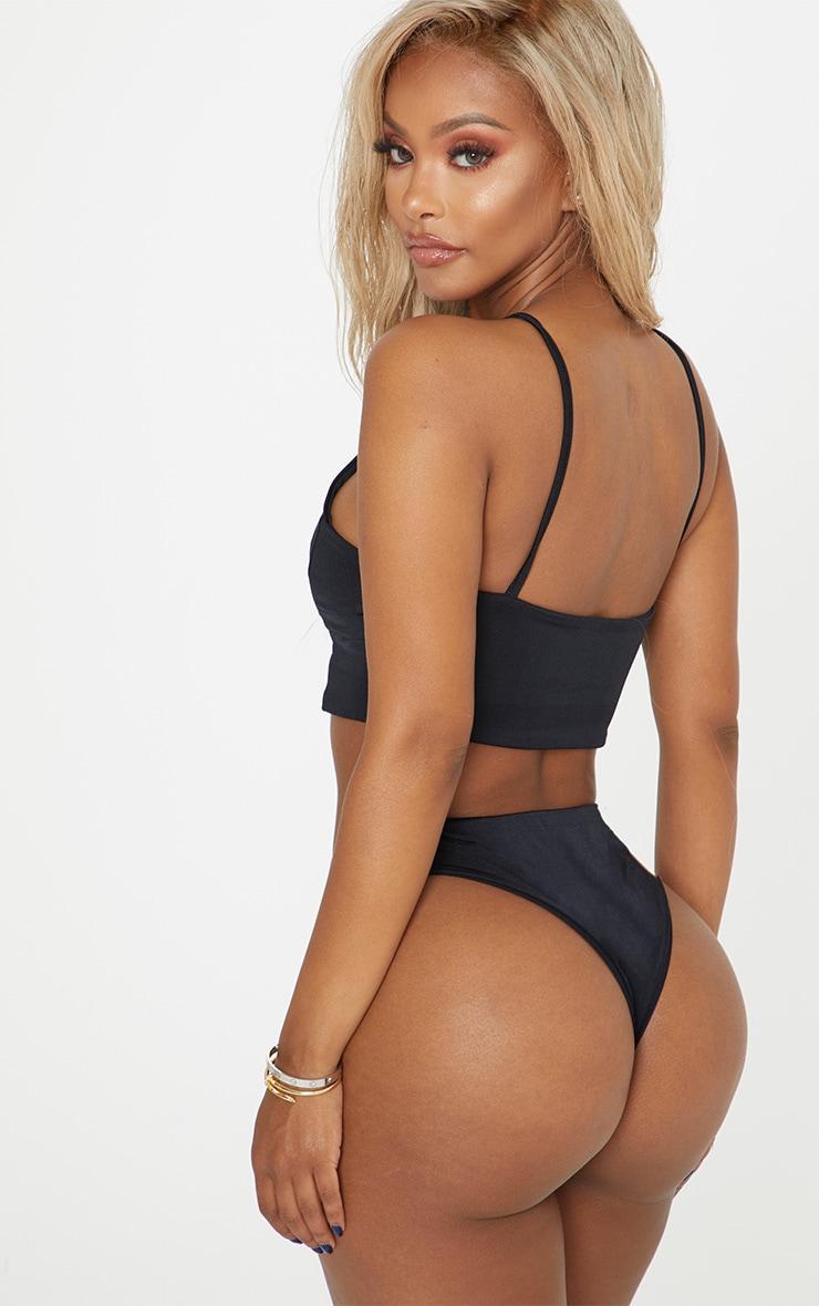 Shape - Bas de bikini échancré noir 2