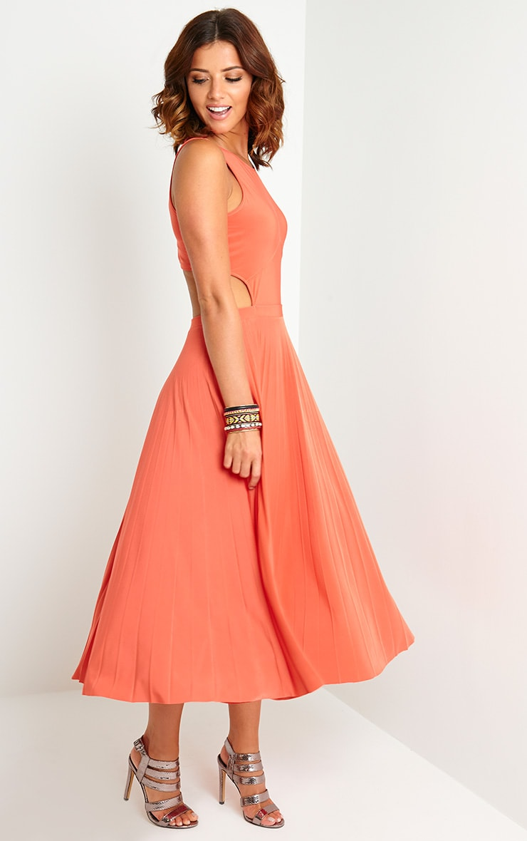 Ebony Orange Cut Out Pleated Midi Dress 4