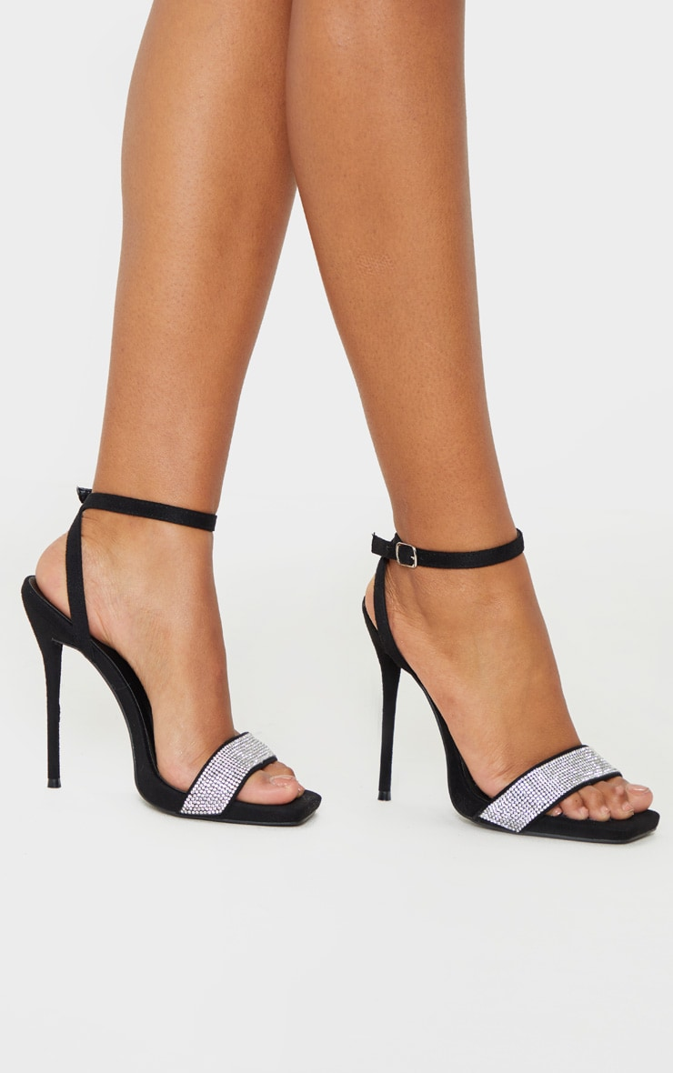 Black Diamante Strappy High Sandal 1