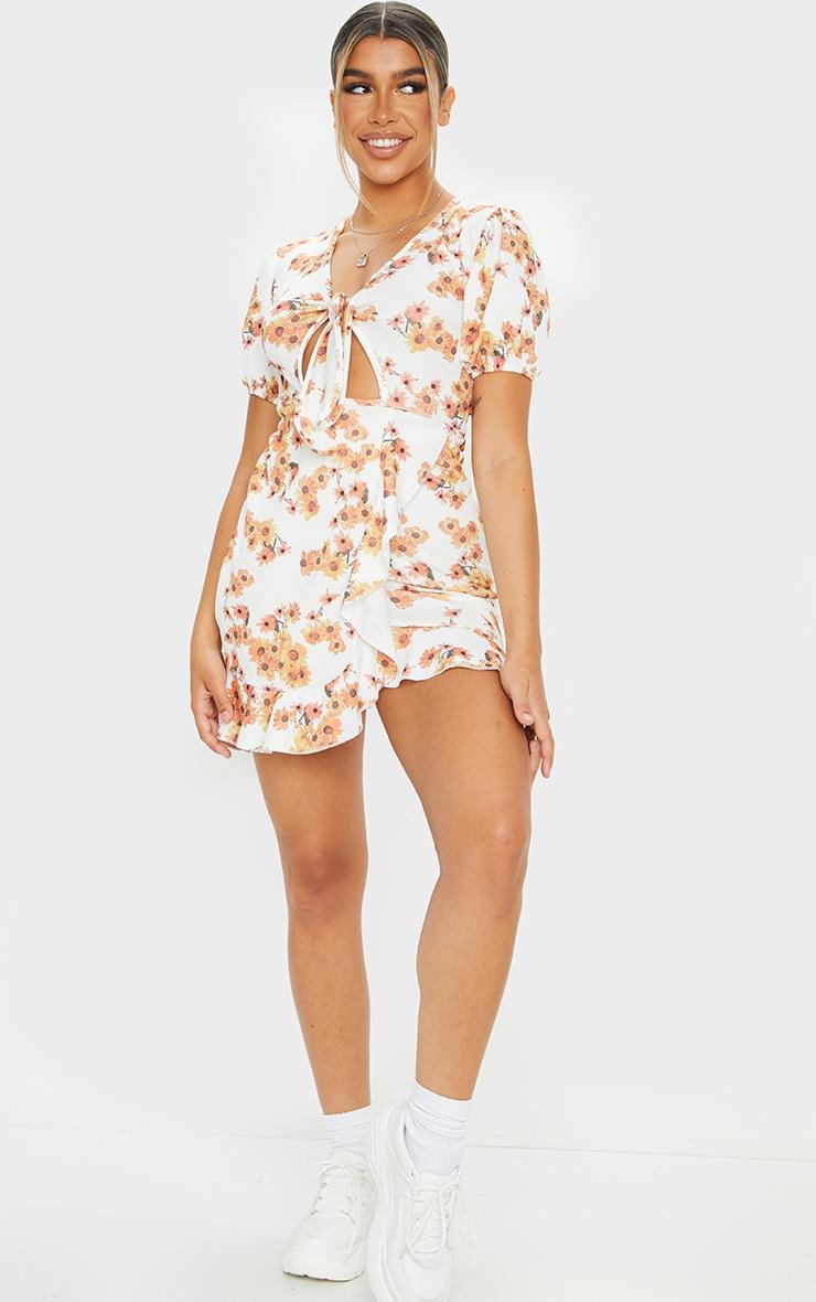 White Sunflower Print Tie Front Frill Tea Dress 1