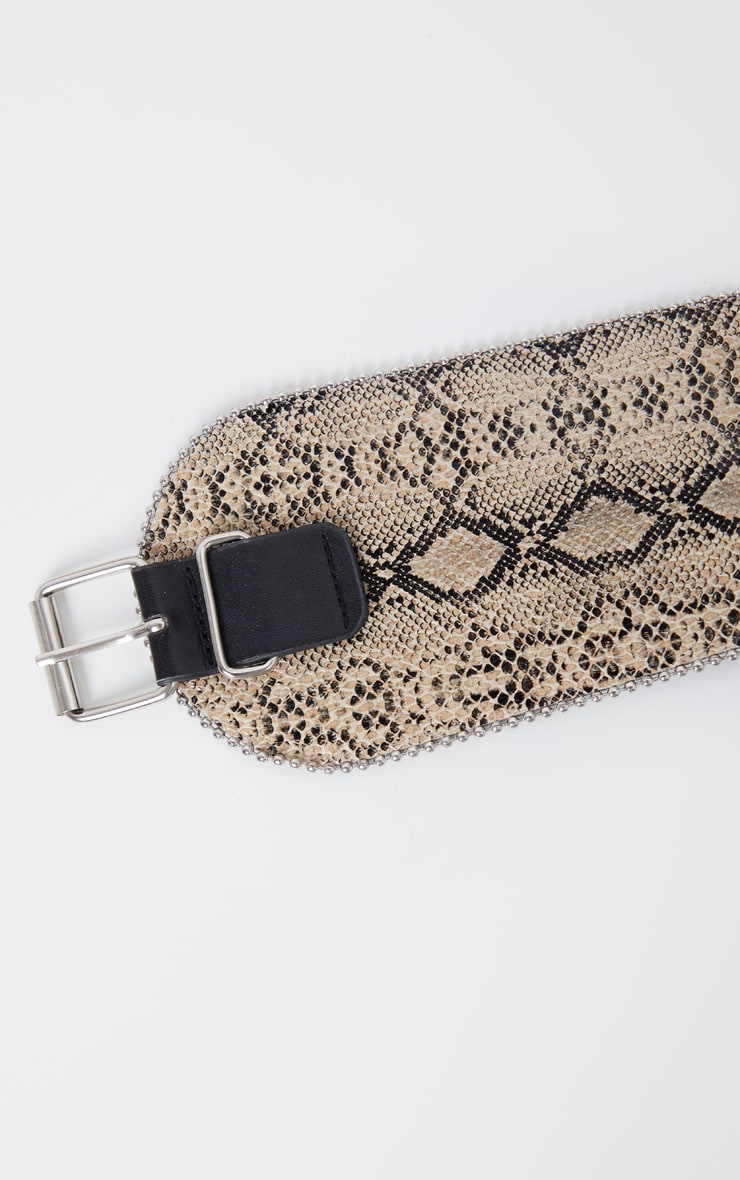 Natural Snake Ball Chain Border Wide Waist Belt 3