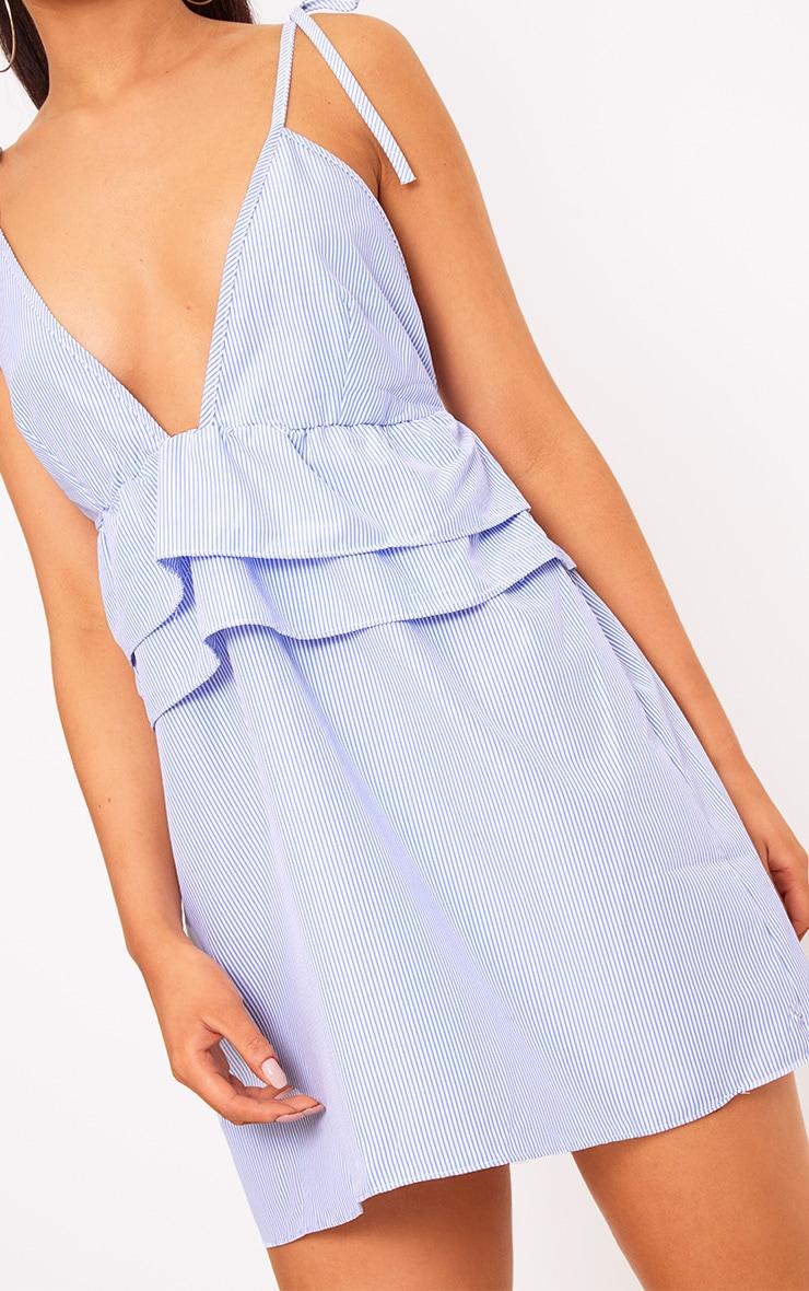 Blue Pinstripe Peplum Frill Detail Shift Dress 5