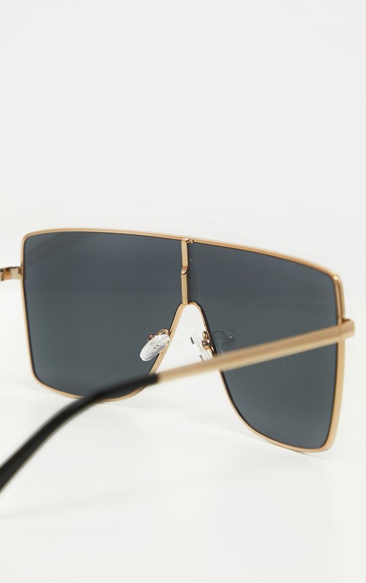 Black Oversize Flat Top Sunglasses 3