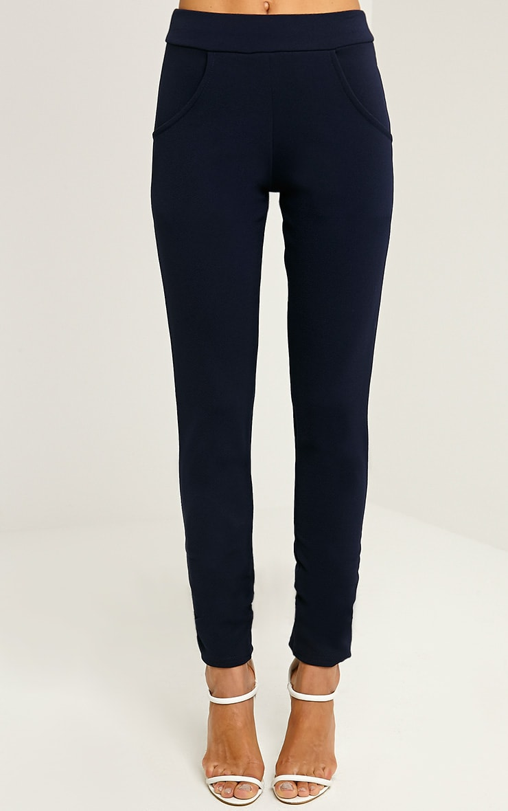 Sage Navy Crepe Cigarette Trousers 2