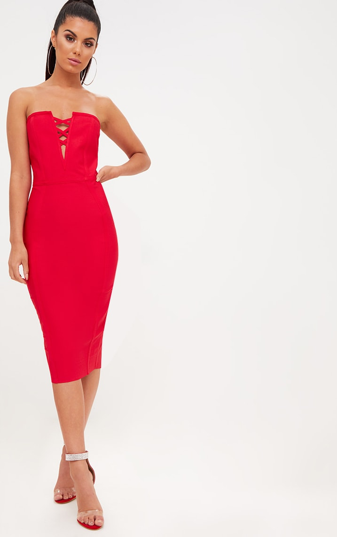 Red Bandage Lattice Detail Bandeau Midi Dress 1