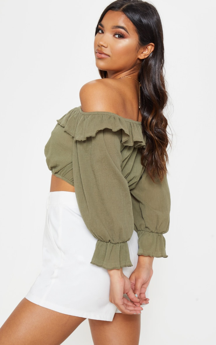 Khaki Woven Frill Bardot Long Sleeve Crop Top 2