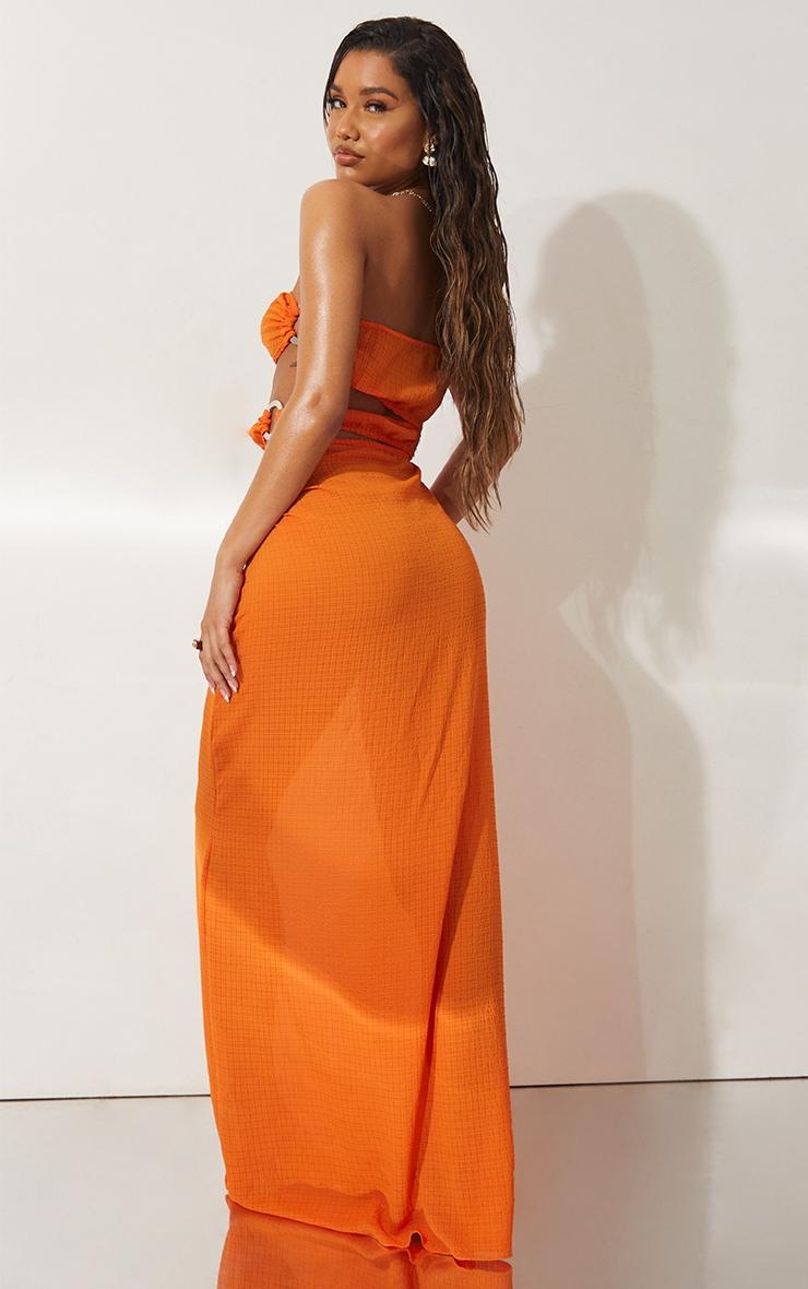 Orange Mini Crinkle Ring Cut Out Beach Dress 2
