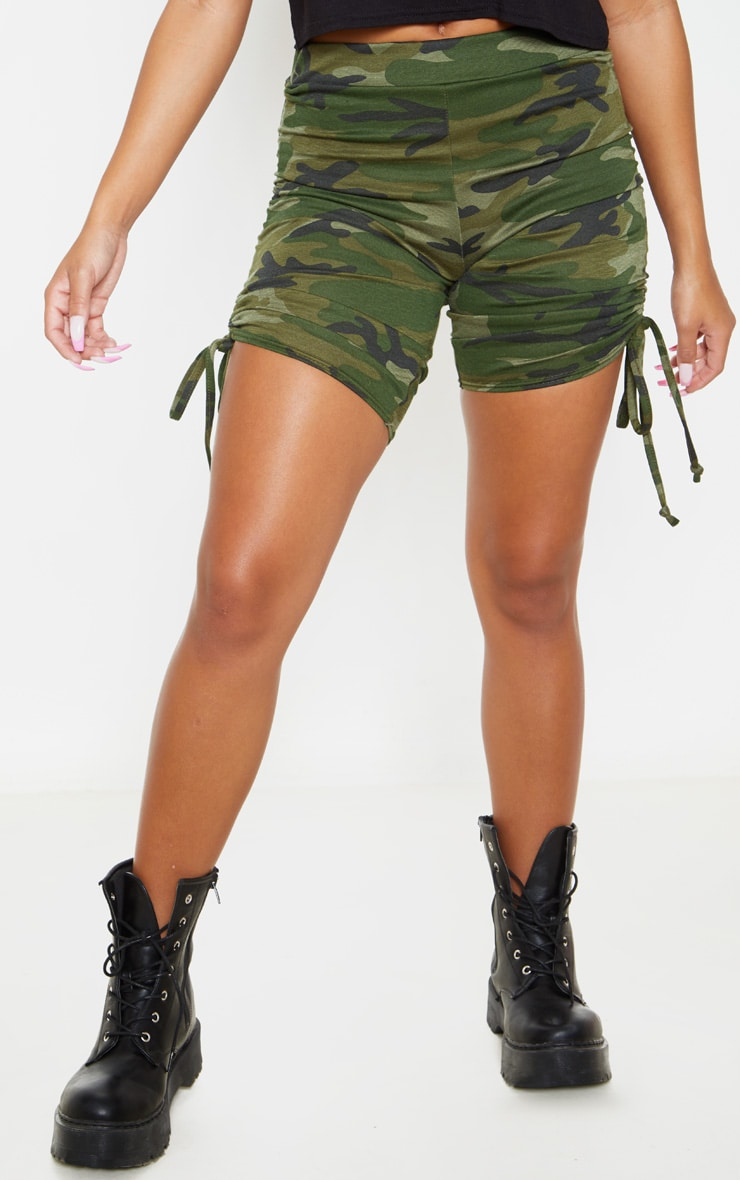 Khaki Camo Print Ruched Side Cycle Short 2