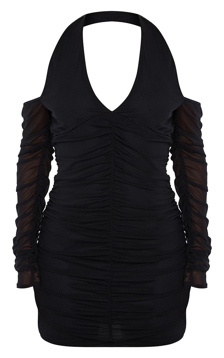 Black Halterneck Long Sleeve Mesh Ruched Bodycon Dress 5