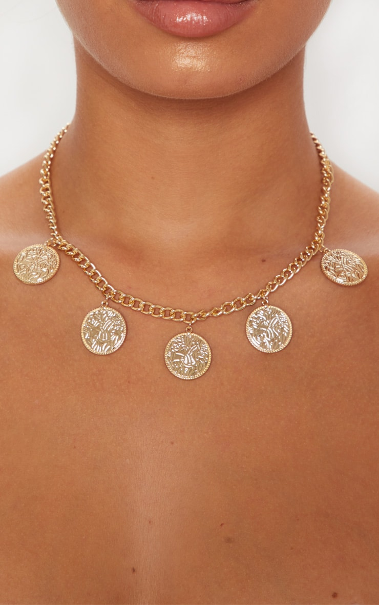 Gold Coin Chunky Chain Necklace 2