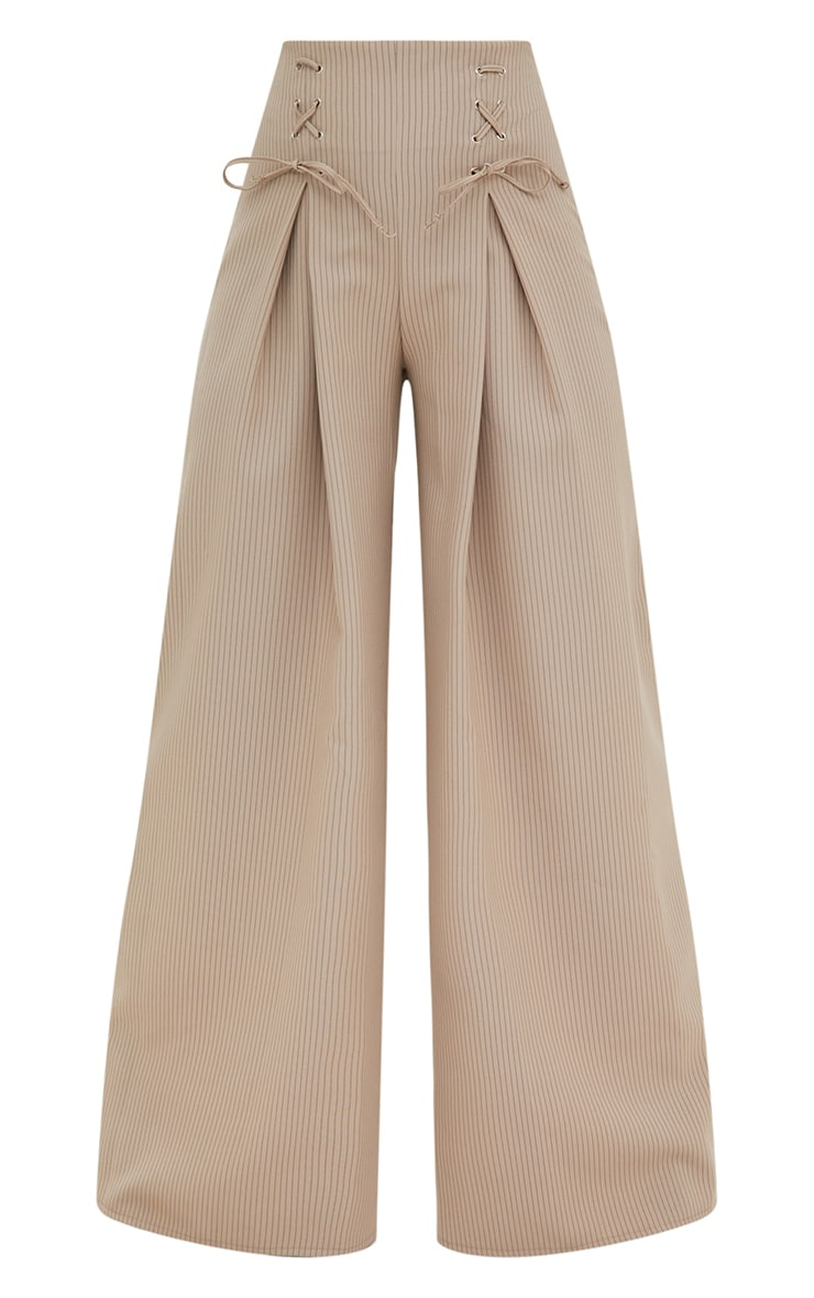 Stone Pinstripe Lace Up Wide Leg Trousers 3