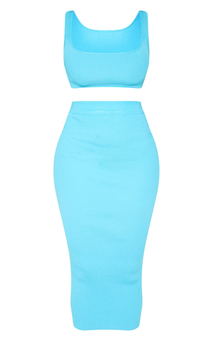 Bright Blue Knitted Ribbed Co Ord  3