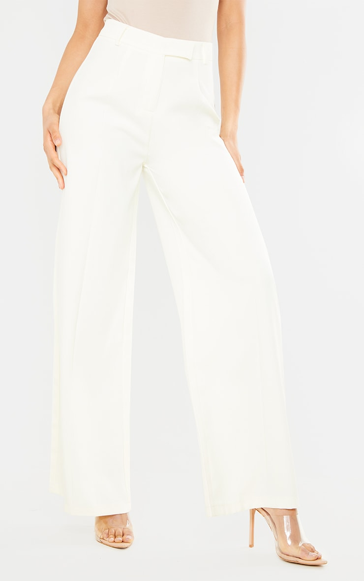 Cream Woven Tailored Wide Leg Trousers 2