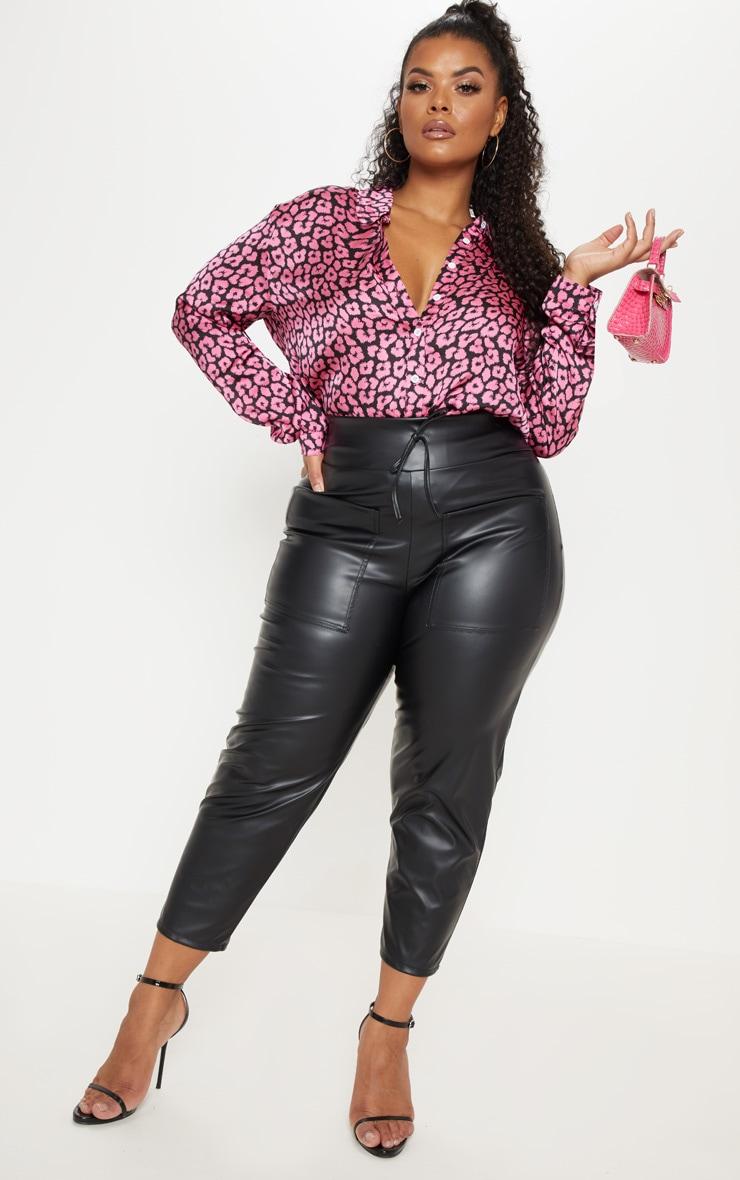 Plus Bright Pink Leopard Print Oversized Shirt 4