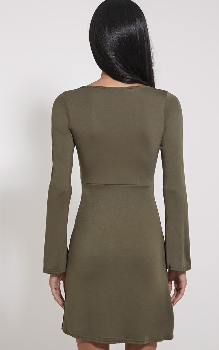 Remilda Khaki Lace Up Jersey Dress 2
