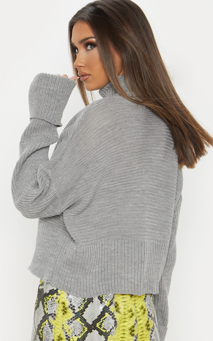 Grey Chunky Ribbed Knitted Jumper  2