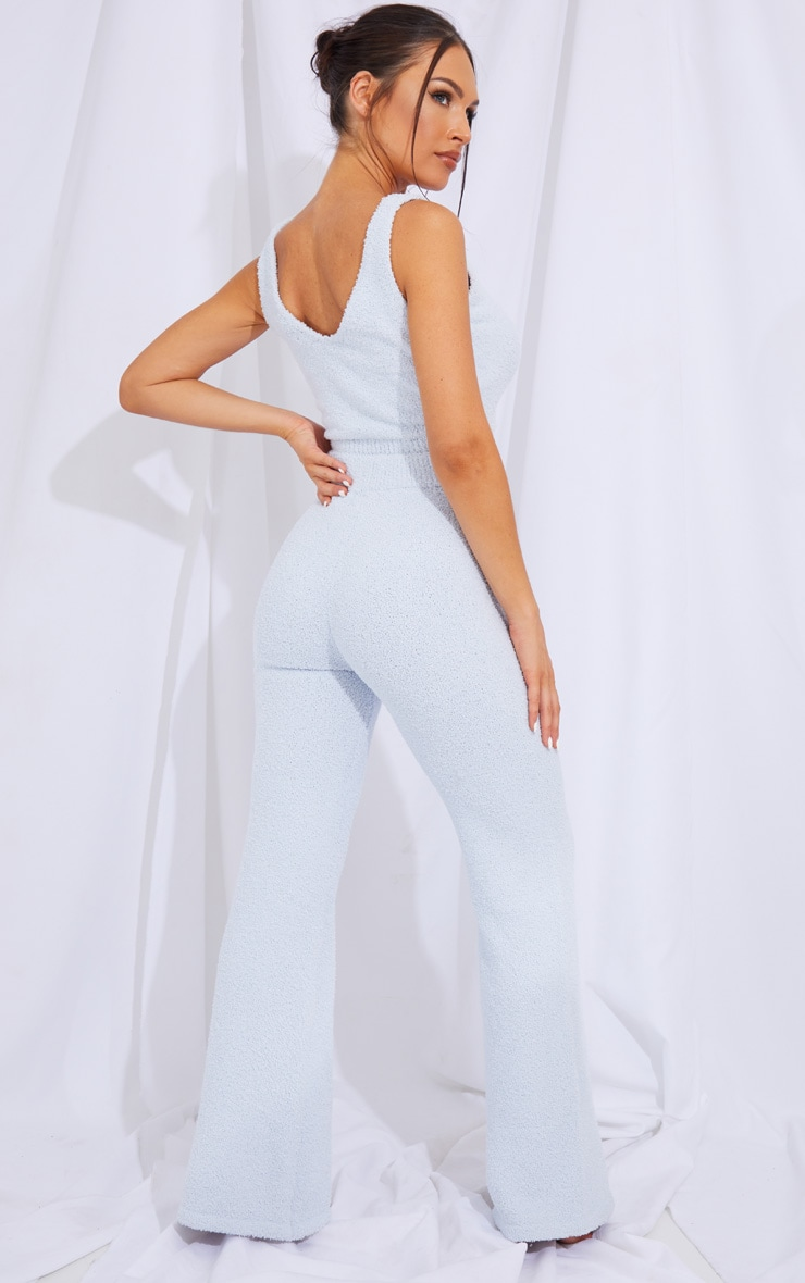 Baby Blue Chenille Bralet And Wide Leg Pant Lounge Set 2