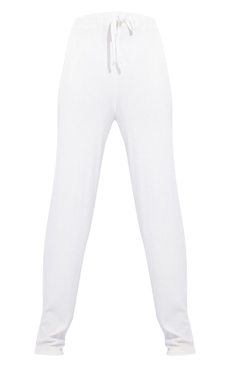 Tall Cream Ruched Waist Brushed Rib Wide Leg Trousers 5