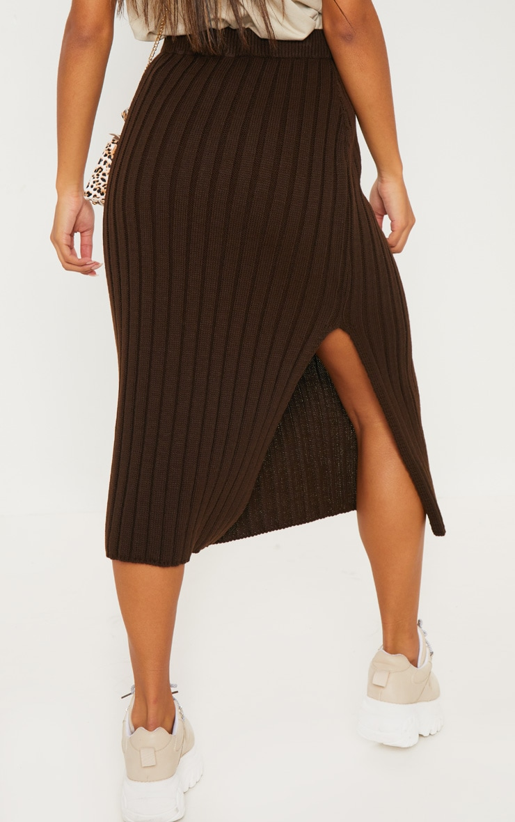 Brown Ribbed Knitted Midi Skirt 3