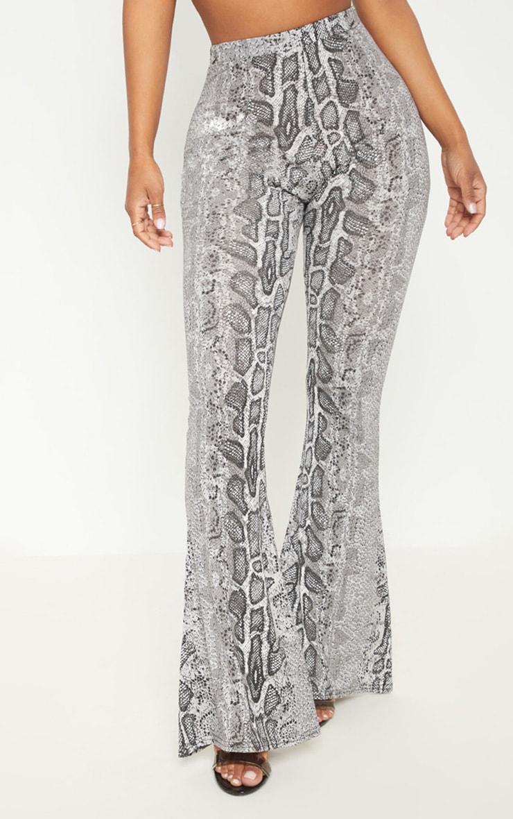 Shape Grey Snake Print Flares  2
