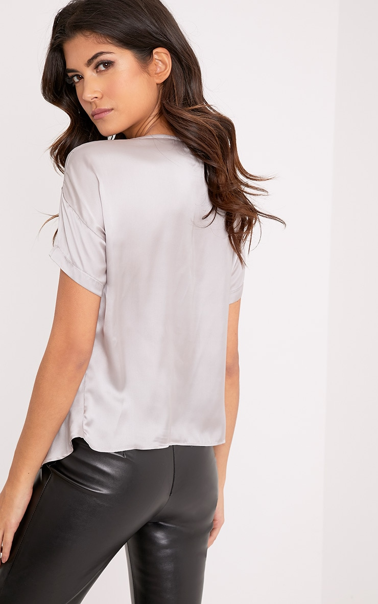 Daisy Silver Grey Satin Knot Front T-Shirt  2