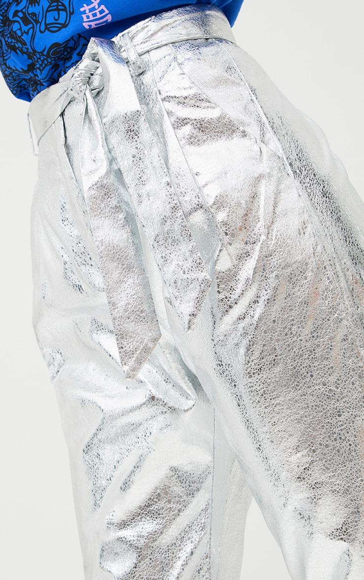 Silver Crack Vinyl Tie Waist Crop Trousers  4