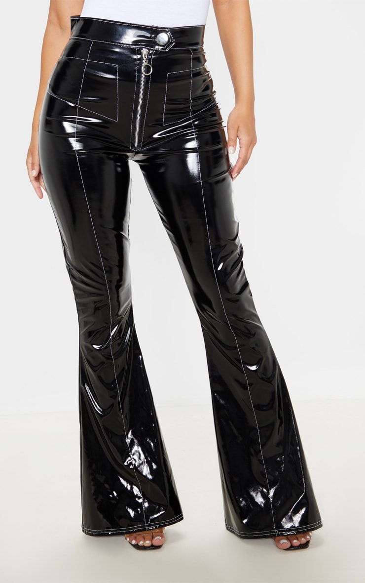 Petite Black Contrast Stitch Vinyl Flared Pants  2