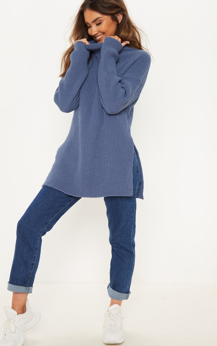 Blue High Neck Oversized Jumper