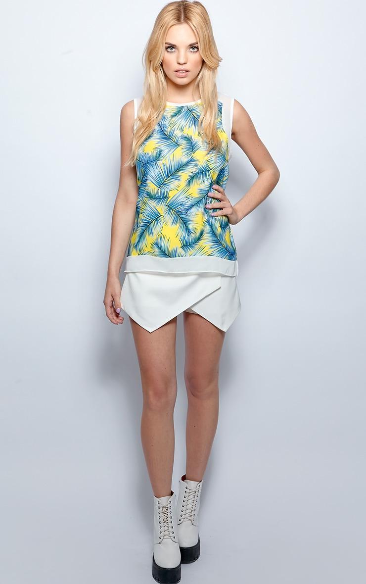 Amelia Blue Sheer Tropical Palm Print Vest  5