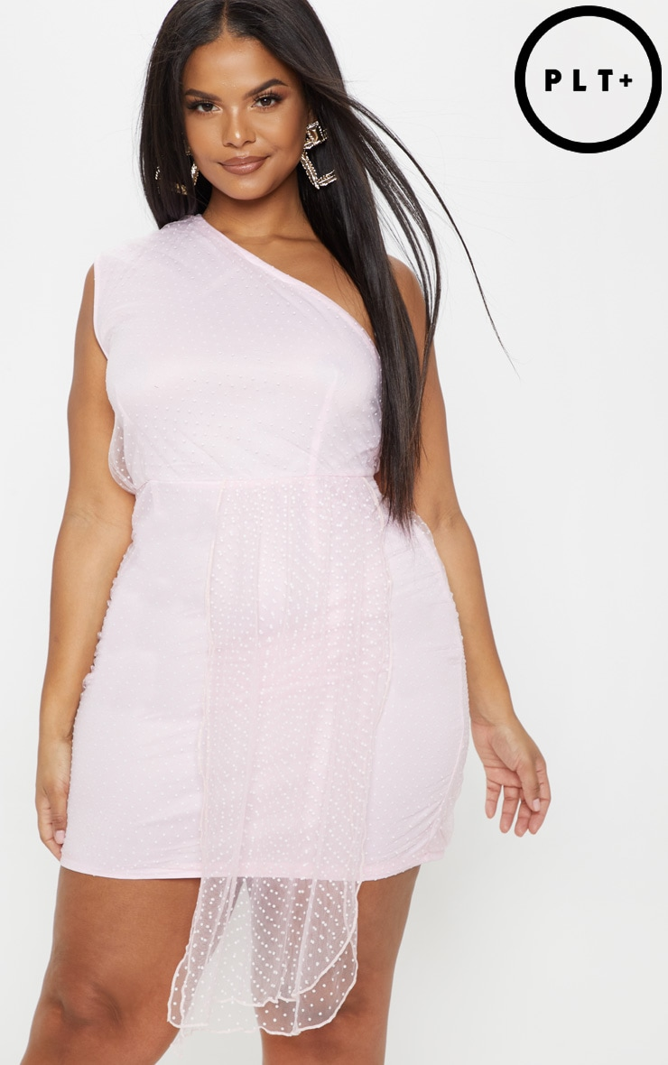 Plus Dusty Pink Mesh Overlay One Shoulder Dress 1