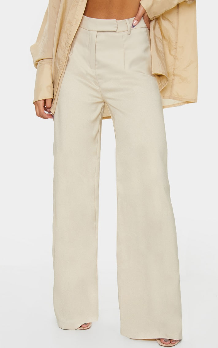 Stone Wide Leg Woven Trousers 2