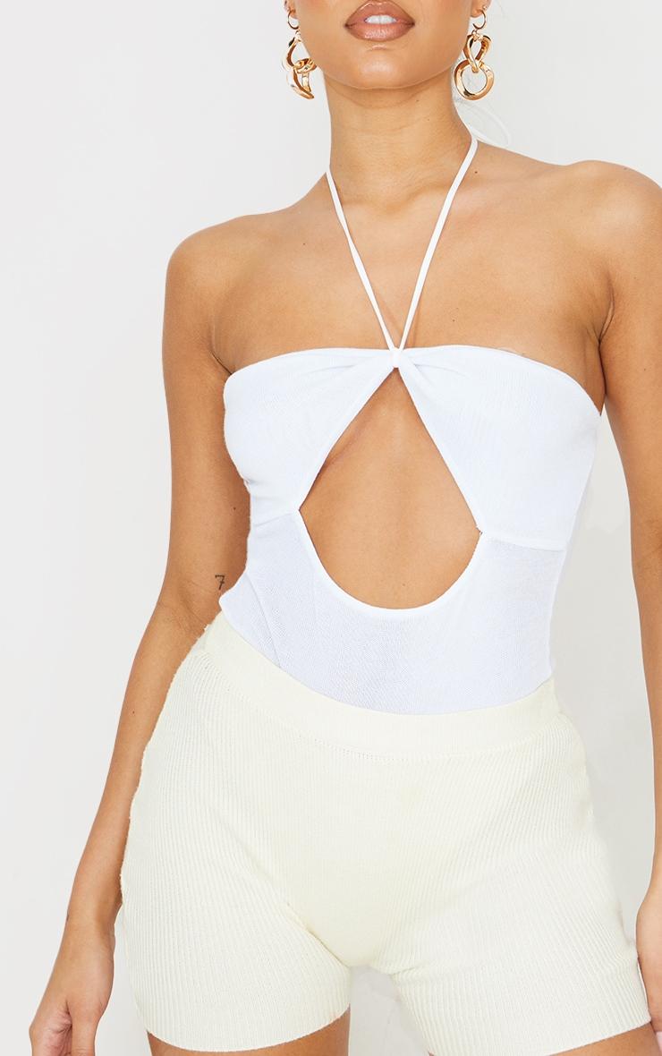 White Cut Out Halterneck Bodysuit 4