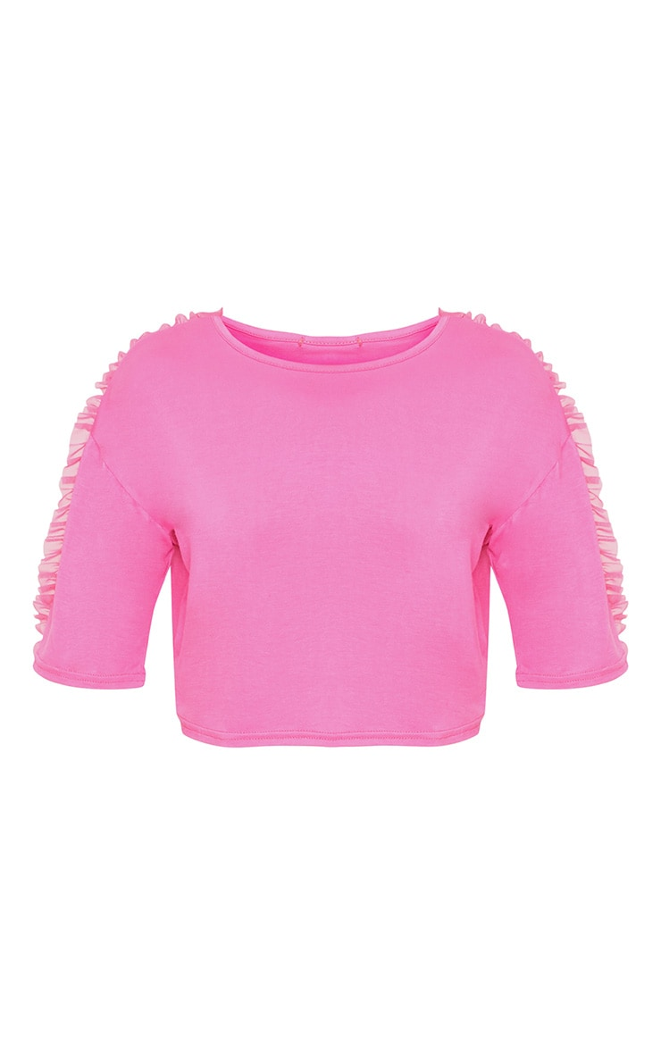 Hot Pink Mesh Tulle Frill T Shirt 3