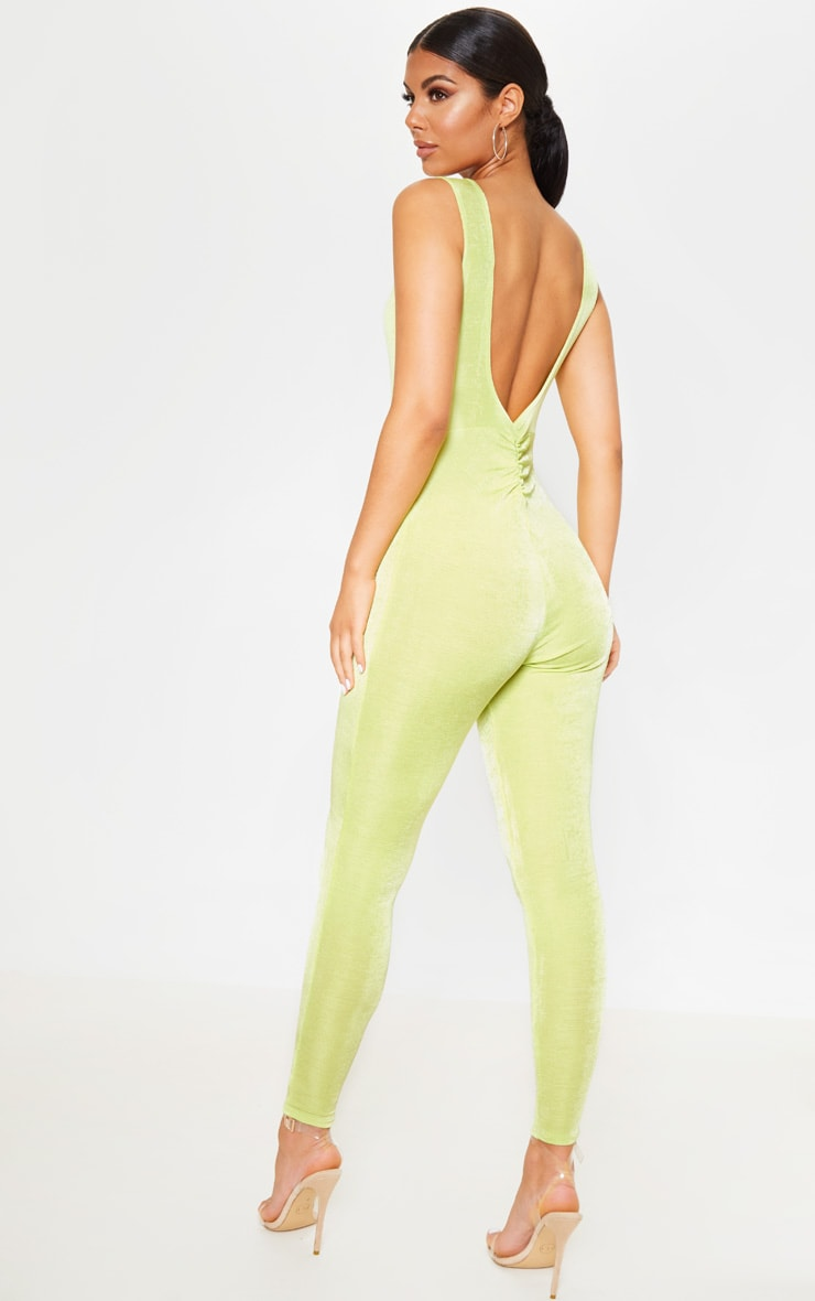 Lime Slinky Ruched Back Jumpsuit 2
