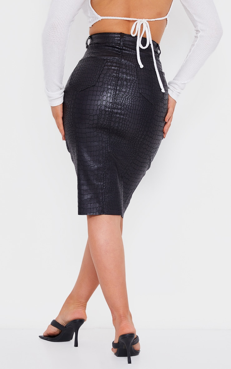 Black Croc Embossed Coated Denim Midi Skirt 3