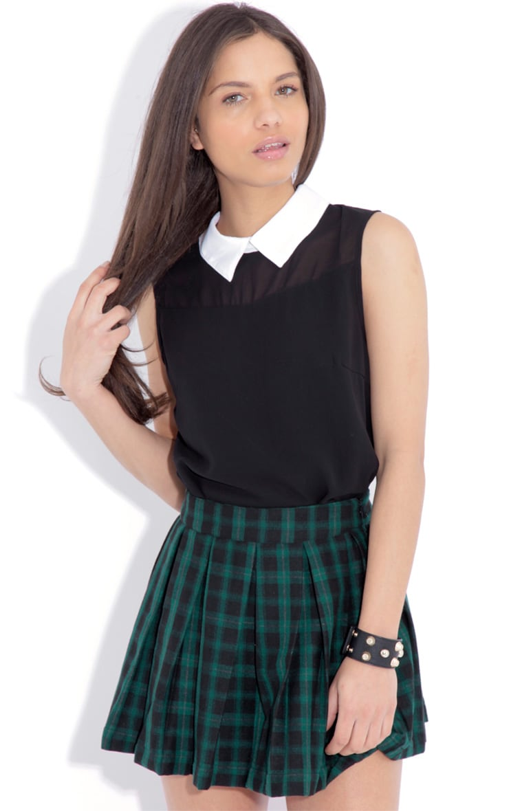 Meera Black Sleeveless Chiffon Top 1