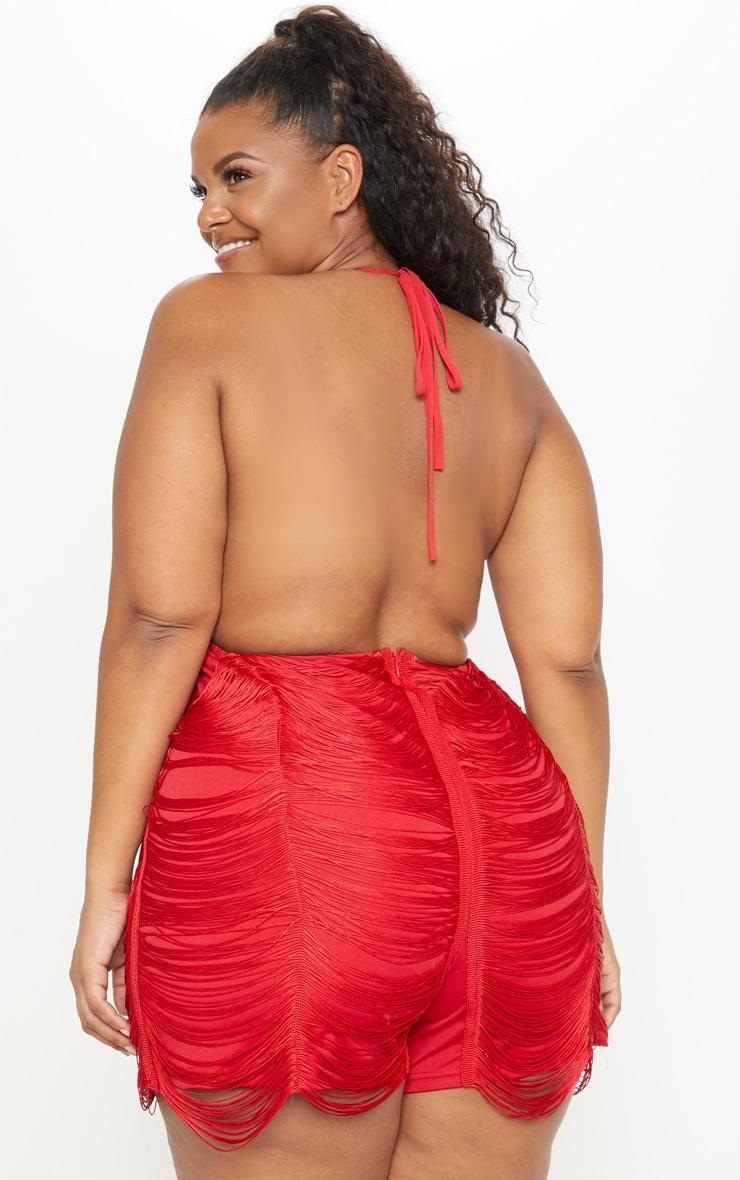 Plus Red Multi Tassel Backless Romper 2