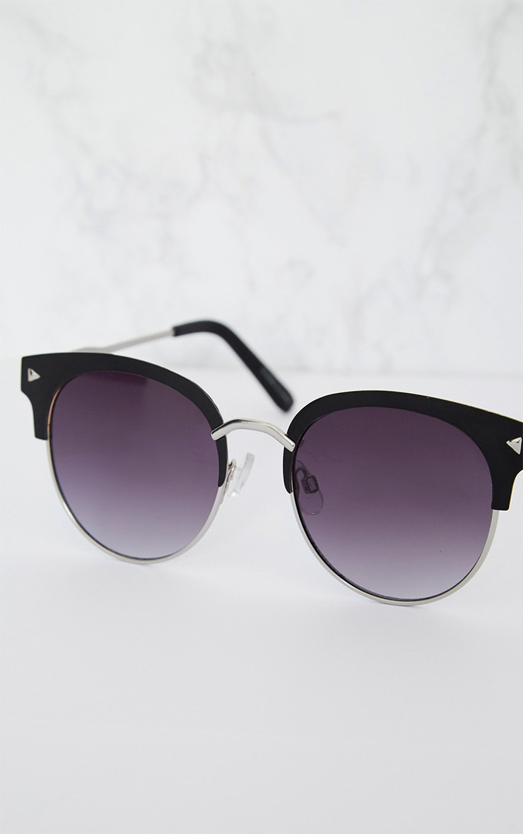 Black Frame Rounded Aviator Sunglasses 4