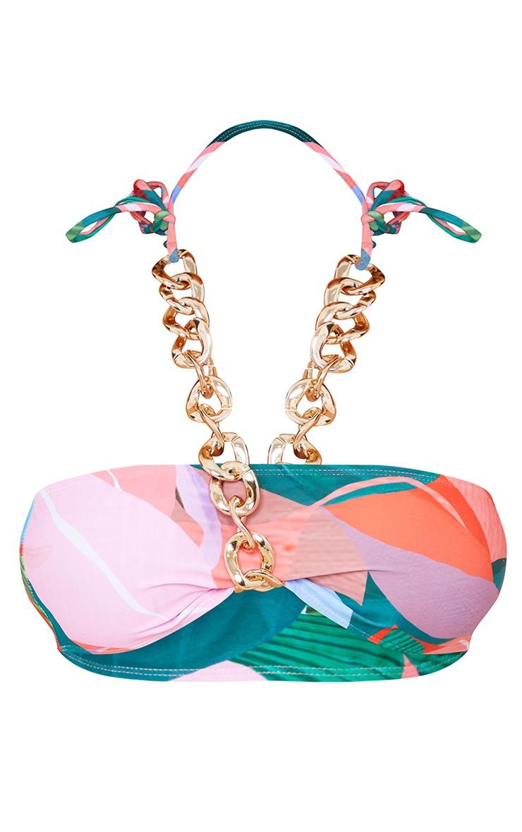 Multi Leaf Print Chunky Chain Bikini Top 5