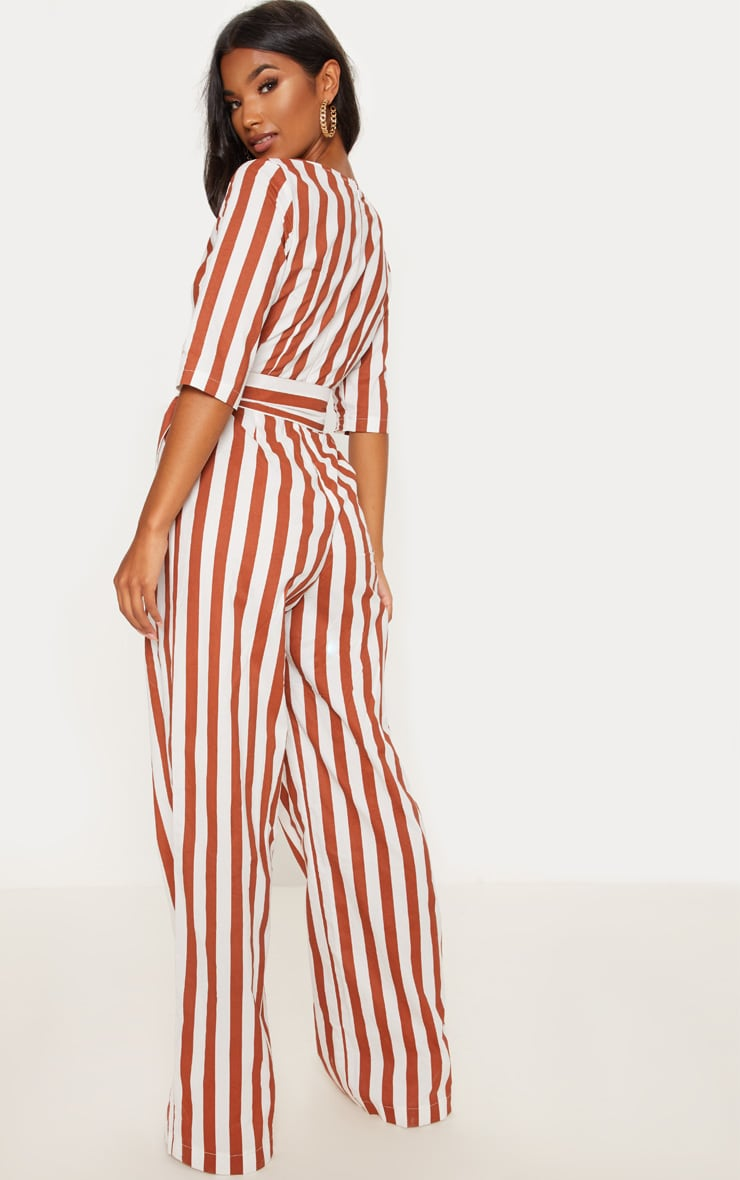 Rust Stripe Tie Detail Jumpsuit  2