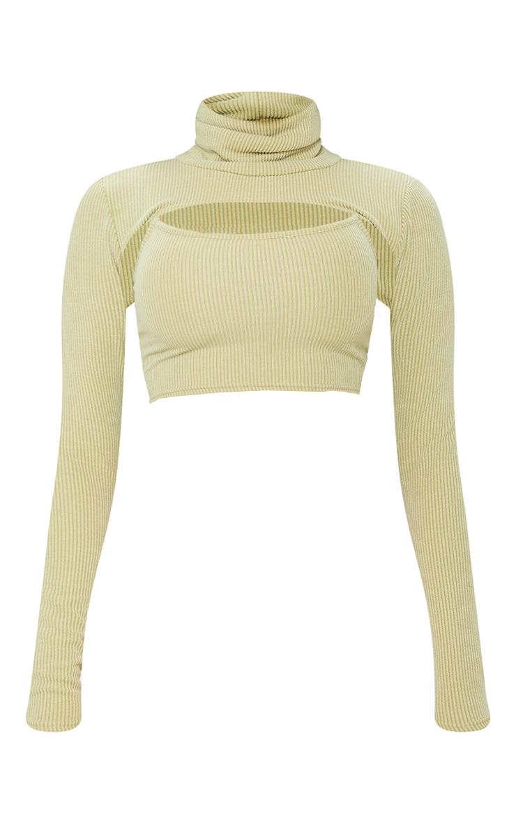 Shape Khaki Textured Rib Cut Out High Neck Crop Top 5