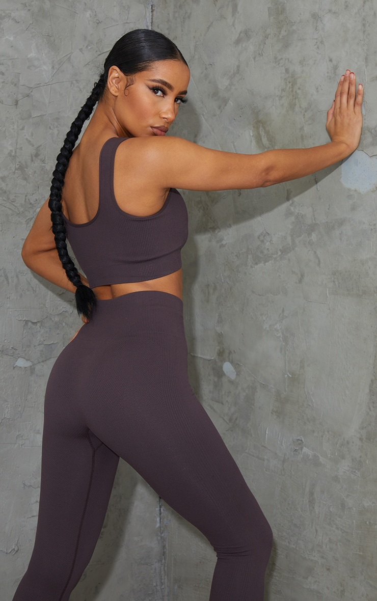 Chocolate V Neck Padded Textured Seamless Sports Bra 2