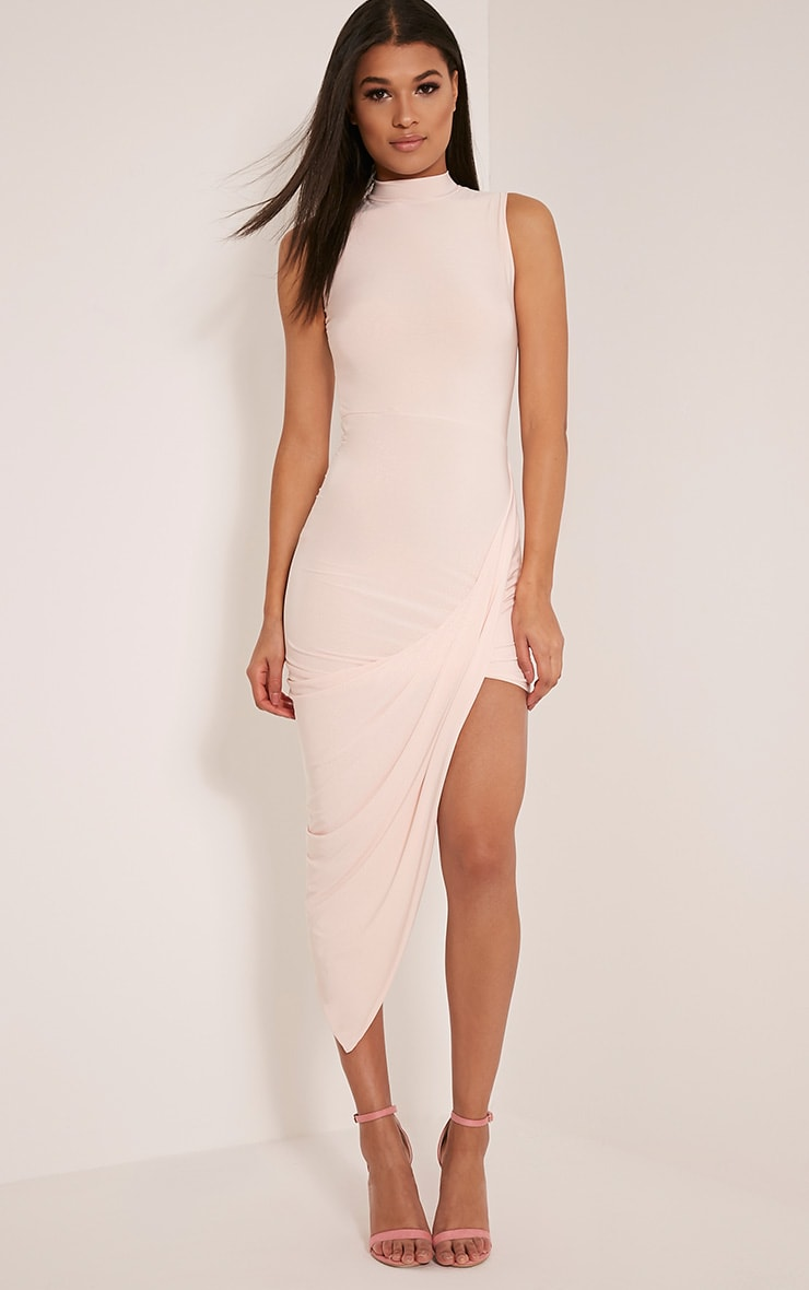 Petite Prim Nude Slinky Drape Asymmetric Dress 1
