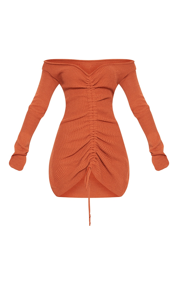 Rust Ruched Knit Dress 4